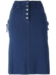 Christian Dior Vintage A Line Knee Length Skirt Blue