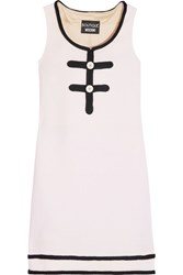 Boutique Moschino Boucle Trimmed Wool Mini Dress White