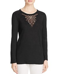Rebecca Taylor Jersey And Lace Tee Black