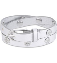 Tory Burch Double Wrap Leather Bracelet Silver Tory Silver