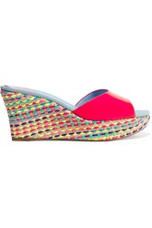 Rene Caovilla Patent Leather And Jute Wedge Sandals Pink