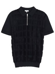 Reiss Solo Textured Polo Shirt Navy