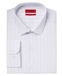 Alfani Men's Fitted Performance Tattersall Dress Shirt Only At Macy's Grey