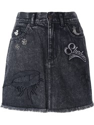 Marc Jacobs Patched Denim Skirt Black