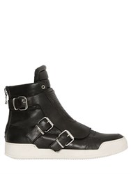 Balmain Belted Leather High Top Sneakers