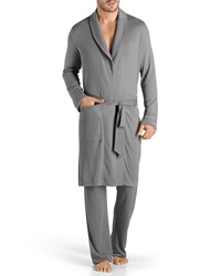 Hanro Theophile Solid Knit Robe Gray