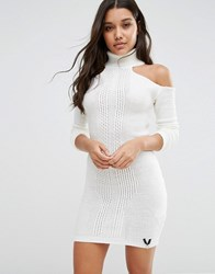Lipsy High Neck Knitted Dress With Cold Shoulder Cream