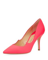 Paul Andrew Rubberized Patent Leather Signature Pump Neon Rose
