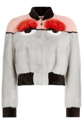 Fendi Bugs Jacket With Mink Arctic Fox And Beaver Fur Multicolor