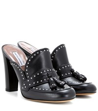 Tabitha Simmons Diana Embellished Leather Mules Black