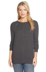 Petite Women's Caslon Pointelle Detail Button Back Tunic Sweater Heather Charcoal