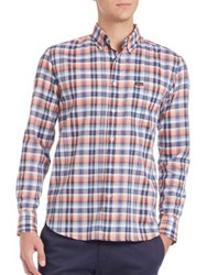 Faconnable Long Sleeve Plaid Shirt Orange