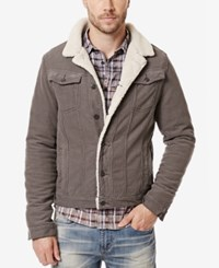 Buffalo David Bitton Men's Joe Jacket With Faux Fur Lining Clean And Authentic Steel