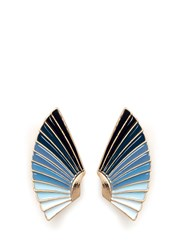 Lulu Frost 'Horizon' Ombre Enamel Fan Stud Earrings Blue