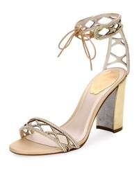 Rene Caovilla Crystal Studded 90Mm Ankle Tie Sandal Gold