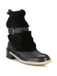 Salvatore Ferragamo Furio Leather And Shearling Booties Black
