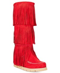 Mojo Moxy Dolce By Crossbow Fringe Wedge Boots Women's Shoes Red