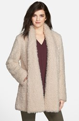 Women's Kenneth Cole New York 'Teddy Bear' Faux Fur Clutch Coat Ivory