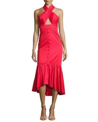Johanna Ortiz Poplin Crisscross Halter Midi Dress Red