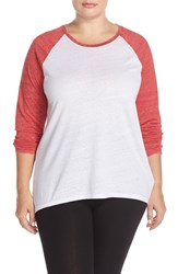 Make Model High Low Baseball Tee Plus Size Red Couture