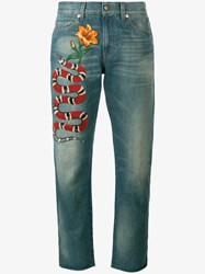 Gucci Snake And Floral Embroidered Jeans Denim Beige Multi Coloured Blue Orange White