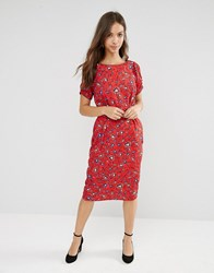 Trollied Dolly Straight And Narrow Floral Print Dress Red