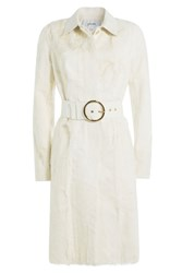 Jitrois Leather And Goat Hair Coat White