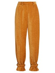 Hillier Bartley Strap Hem Chenille Trousers Camel