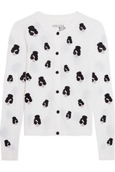 Alice Olivia Stacey Emoji Embroidered Stretch Wool Cardigan White