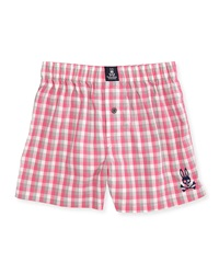 Psycho Bunny Grande Plaid Cotton Boxers Pink