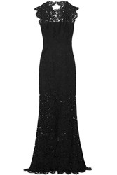 Rachel Zoe Estelle Open Back Lace Gown Black