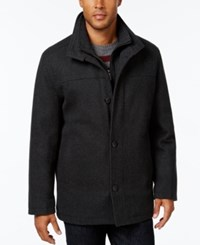 London Fog Men's Wool Blend Layered Car Coat New Charcoal Black
