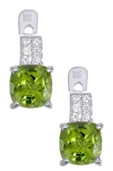 Sterling Silver Peridot And Cz Earrings Green