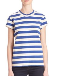 M.I.H Jeans Striped Cotton Tee Off White Cobalt