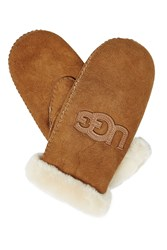 Ugg Australia Shearling Lined Mittens Brown
