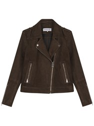 Gerard Darel Mick Leather Jacket Dark Green