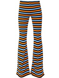 Moschino Flared Striped Cotton Knit Pants
