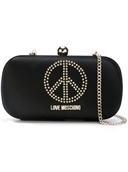 Love Moschino Studded Peace Symbol Clutch Black