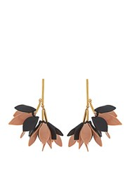 Marni Flower Drop Leather Earrings Pink Black