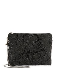 Mary Frances Beaded Top Zip Clutch Black