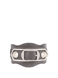 Balenciaga Classic Metallic Edge Leather Bracelet Grey
