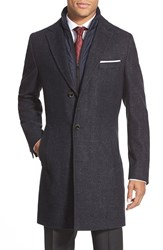 Boss 'Logan' Trim Fit Wool Blend Overcoat Navy Pattern