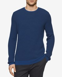 Calvin Klein Men's Crew Neck Merino Plait Sweater Piglio Combo