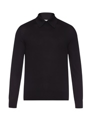 Cerruti Point Collar Wool Knit Sweater