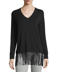Central Park West V Neck Sweater W Faux Leather Fringe Black
