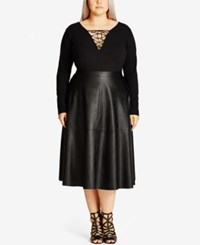 City Chic Trendy Plus Size Faux Leather Midi Skirt Black