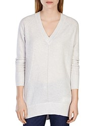 Karen Millen V Neck Knit Tunic Pale Grey