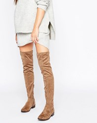Aldo Elinna Flat Over The Knee Boots Taupe Beige