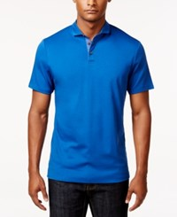 Inc International Concepts Men's Foreman Contrast Placket Polo Only At Macy's Riviera Blue