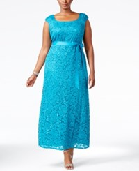 R And M Richards Plus Size Cap Sleeve Lace Gown Teal